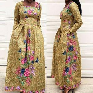 African Ankara print women maxi dress